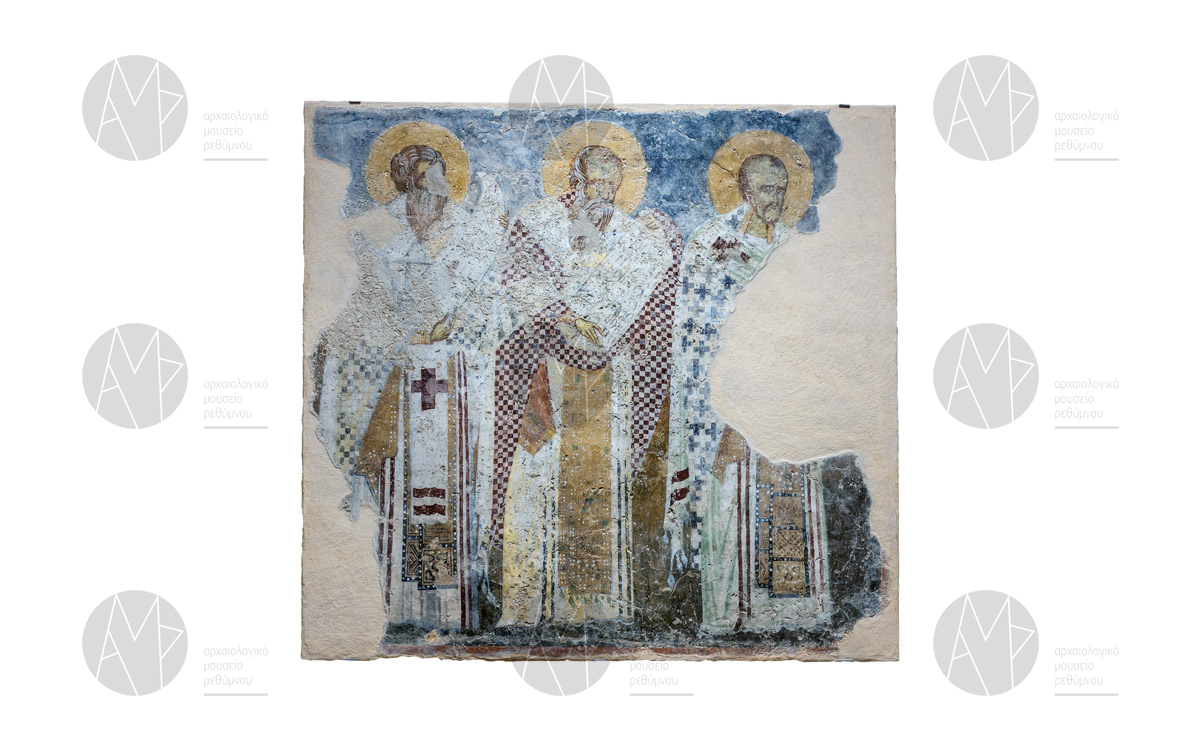 Συλλειτουργούντες ιεράρχες, ναός της Παναγίας, Πατσός, 14ος αι. μ.Χ.