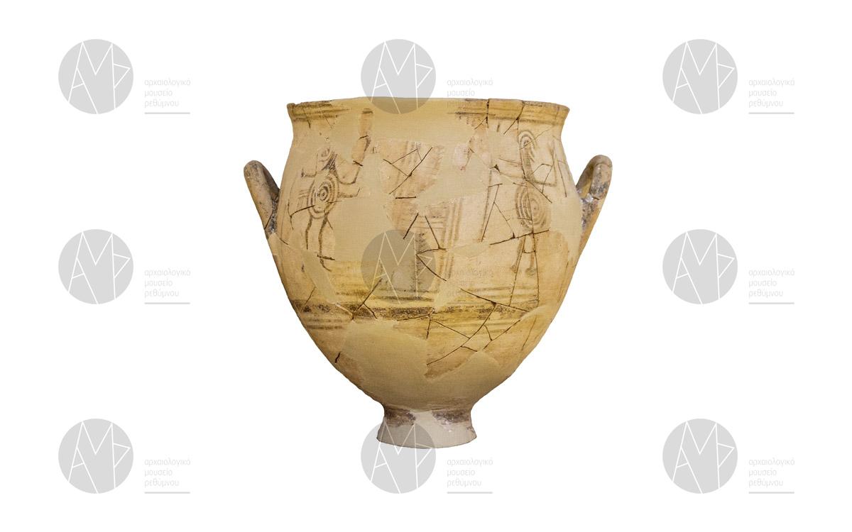 Κρατήρας με παράσταση χορού πολεμιστών, Θρόνος, 11ος αι. π.Χ.