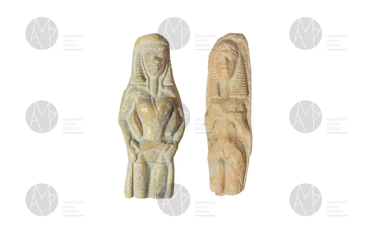 Πήλινα πλακίδια με παράσταση γυναικείας μορφής από την Αξό, 7ος αι. π.Χ.