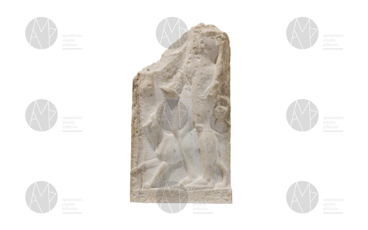 Μαρμάρινη επιτύμβια στήλη νέου. Σταυρωμένος, μέσα 5ου αι. π.Χ.